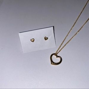 Gold Colored Heart Studs and Necklace